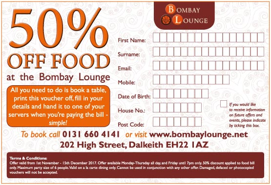 50% Off Voucher for Bombay Lounge Indian restaurant and Takeaway Dalkeith Edinburgh Scotland
